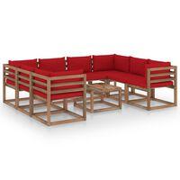 vidaXL 9-dielna záhradná sedacia súprava s červenými podložkami