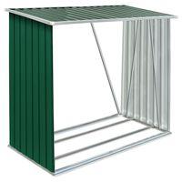 vidaXL Záhradná kôlňa na drevo z galvanizovanej ocele 163x83x154 cm zelená