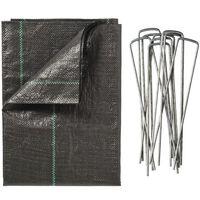 Nature Textília proti burine s kolíkmi 2x5 m, čierna