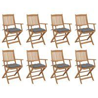 vidaXL Skladacie vonkajšie stoličky s podložkami 8 ks akáciový masív