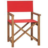 vidaXL Režisérska stolička, tíkový masív, červená