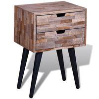 vidaXL Nočný stolík s 2 zásuvkami, recyklované tíkové drevo