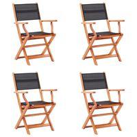 vidaXL Skladacie záhradné stoličky 4 ks, čierne, eukalyptus a textilén