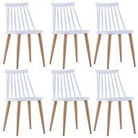 vidaXL Jedálenské stoličky 6 ks biele plastové