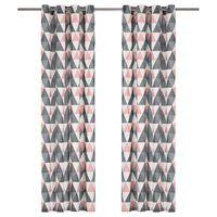 vidaXL Závesy s kovovými očkami 2 ks bavlna 140x245 cm ružovo-sivé