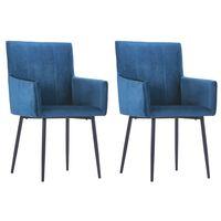 vidaXL Jedálenské stoličky s opierkami 2 ks, modré, zamat