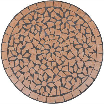 vidaXL Bistro stolík, tehlová farba 60 cm, mozaikový