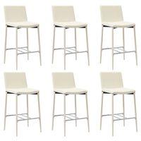 vidaXL Barové stoličky 6 ks, krémové, umelá koža
