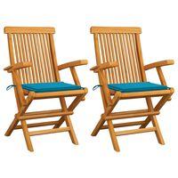 vidaXL Záhradné stoličky, modré podložky 2 ks, tíkový masív