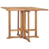 vidaXL Skladací záhradný jedálenský stôl 90x90x75 cm teakový masív