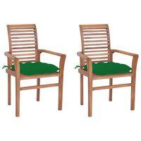 vidaXL Jedálenské stoličky 2 ks zelené podložky tíkový masív