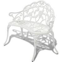 vidaXL Záhradná lavička 100 cm, odlievaný hliník, biela