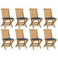 vidaXL Záhradné stoličky s kráľovsky modrými podložkami 8 ks tíkový masív