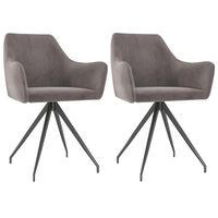 vidaXL Jedálenské stoličky 2 ks, svetlosivé, zamat