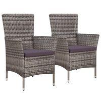vidaXL Záhradné stoličky 2 ks s podložkami, polyratan, sivé