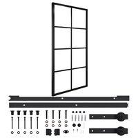 vidaXL Posuvné dvere hliník a ESG sklo s príslušenstvom 102,5x205cm