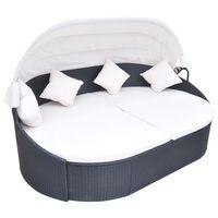 vidaXL Záhradná posteľ s baldachýnom, polyratan, čierna