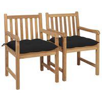 vidaXL Záhradné stoličky 2 ks čierne podložky tíkový masív