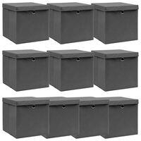 vidaXL Úložné boxy s vrchnákmi 10 ks sivé 32x32x32 cm látkové
