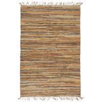 vidaXL Ručne tkaný chindi koberec bledohnedý 190x280 cm kožený a jutový