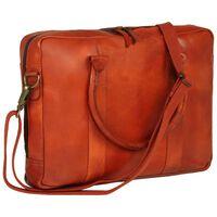vidaXL Zipsová taška na laptop žltohnedá pravá koža