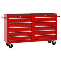 vidaXL Dielenský vozík s 10 zásuvkami červený oceľový