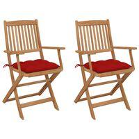 vidaXL Skladacie záhradné stoličky s podložkami 2 ks akáciový masív