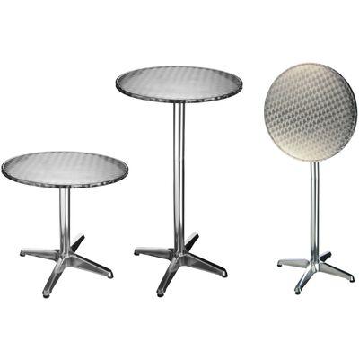 HI Skladací bistro – barový stôl 60x60x (58-115) cm hliníkový okrúhly