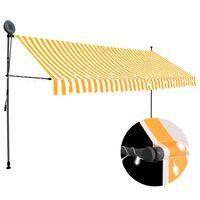 vidaXL Ručne zaťahovacia markíza s LED 400 cm biela a oranžová