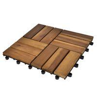 Súprava 10 akáciových podlahových dlaždíc 30 x 30 cm