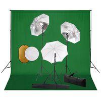 vidaXL Fotografické vybavenie s lampami, dáždnikmi, pozadím a reflektorom