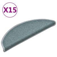vidaXL Kobercové nášľapy na schody 15 ks modré 56x17x3 cm