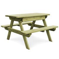 vidaXL Piknikový stôl s lavicami 90x90x58cm, impregnovaná borovica