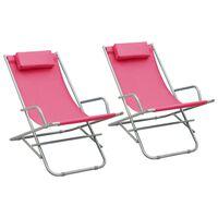 vidaXL Hojdacie stoličky 2 ks oceľové ružové