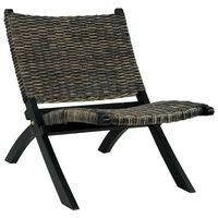 vidaXL Relaxačné kreslo, čierne,prírodný kubu ratan a mahagónový masív