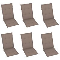 vidaXL Podložky na záhradné stoličky 6 ks sivohnedé 100x50x4 cm