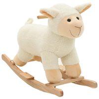 vidaXL Hojdacie zvieratko ovca plyšové 78x34x58 cm biele