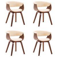 vidaXL Jedálenské stoličky 4 ks krémové ohýbané drevo a umelá koža