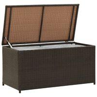 vidaXL Záhradný úložný box hnedý 100x50x50 cm polyratanový