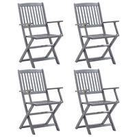 vidaXL Skladacie vonkajšie stoličky 4 ks akáciový masív