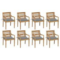 vidaXL Batavia stoličky s podložkami 8 ks tíkový masív