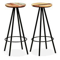 vidaXL Barové stoličky 2 ks, recyklovaný masív