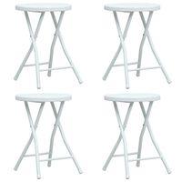 vidaXL Skladacie záhradné stoličky 4 ks biele HDPE ratanový vzhľad