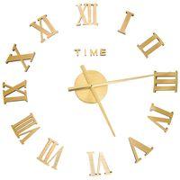 vidaXL 3D nástenné hodiny s moderným dizajnom zlaté 100 cm XXL