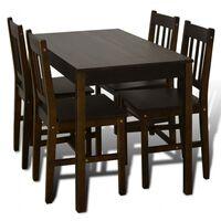 Drevený jedálenský stôl so 4 stoličkami, hnedý