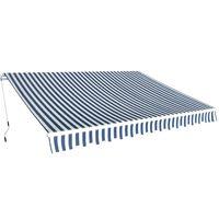 vidaXL Ručne ovládaná zaťahovacia markíza, 350 cm, modro-biela