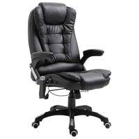 vidaXL Masážne kancelárske kreslo čierne umelá koža