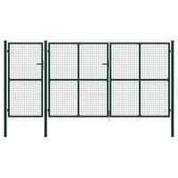 vidaXL Záhradná brána, oceľ 400x150 cm, zelená