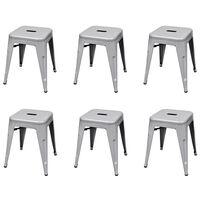 vidaXL Stohovateľné stoličky 6 ks sivé oceľové