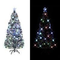 vidaXL Umelý vianočný stromček, podstavec a LED 150 cm, optické vlákno